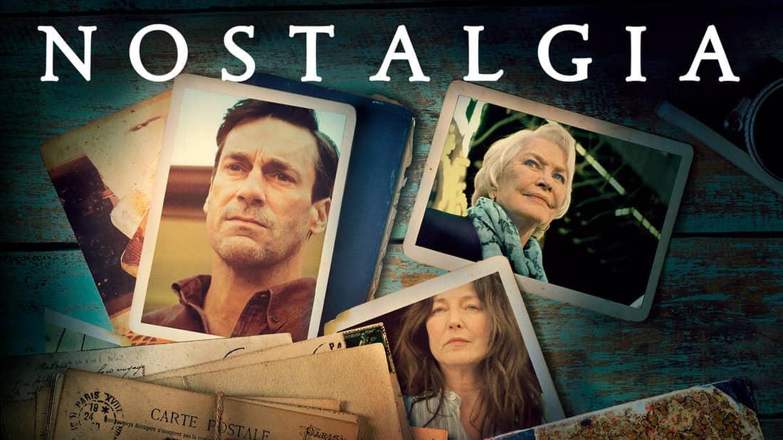 Nostalgia title art, featuring Jon Hamm, Catherine Keener, and Helen Greer