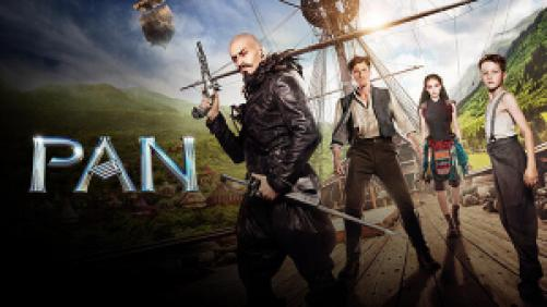Hugh Jackman, Levi Miller, and the rest of the cast of Pan on a pirate ship.