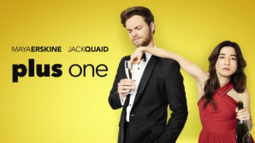Title art for the movie Plus One, featuring Maya Erskine and Jack Quaid in black tie attire.