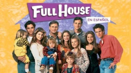 Title art for Full House featuring John Stamos, Bob Saget, Dave Coulier, Candace Cameron, Jodie Sweetin, and the rest of the cast.