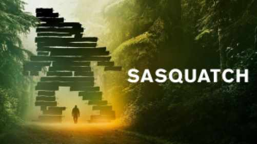 Title art for Sasquatch, featuring a distant bigfoot creature projecting a shadow in the woods.