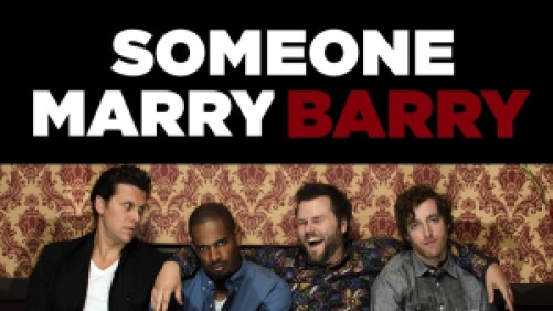 Title art for Someone Marry Barry featuring a group of guy friends sitting on a couch.