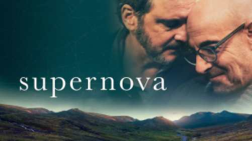 Title art for Supernova featuring Colin Firth and Stanley Tucci projected over a mountainous terrain.