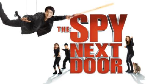 Title art for The Spy Next Door featuring Jackie Chan and child co-stars.