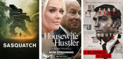 true crime documentaries on Hulu: Sasquatch, The Housewife and the Hustler, and Wilderness of Error