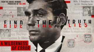 Title art for A Wilderness of Error featuring a photo of Jeffrey MacDonald against a mosaic of newspaper headlines.