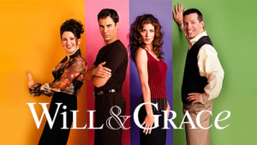 Debra Messing, Eric McCormack, Sean Hayes, and Megan Mullally posing against a multicolored wall in Will & Grace