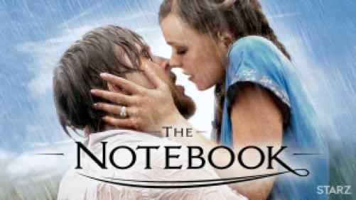 Ryan Gosling and Rachel McAdams kissing in the rain in The Notebook.
