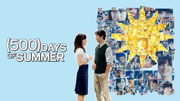 Title art for 500 Days of Summer, featuring Joseph Gordon-Levitt and Zooey Deschanel.