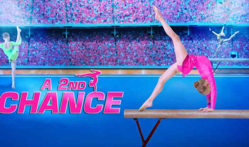 Title art for A 2nd Chance, featuring a young gymnast on a balance beam.