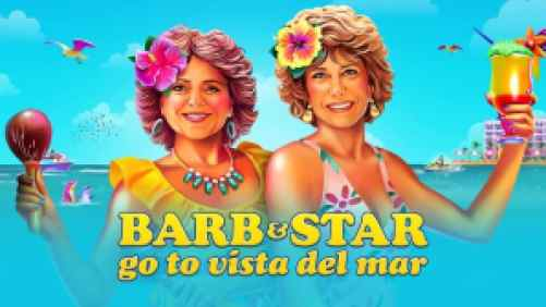Title art for Barb & Star Go to Vista Del Mar featuring a portrait of Kristen Wiig and Annie Mumolo on the beach.