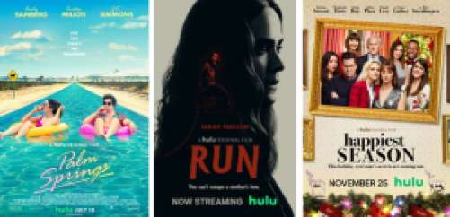 Title art for Palm Springs, Run, and Happiest Season