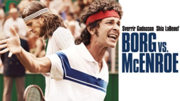 Title art for Borg vs. McEnroe, featuring Shia LaBeouf as American tennis legend John McEnroe.