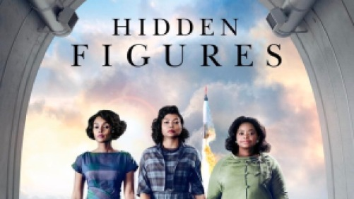 Taraji P. Henson, Octavia Spencer, and Janelle Monáe in the film Hidden Figures, with a spaceship launching behind them.