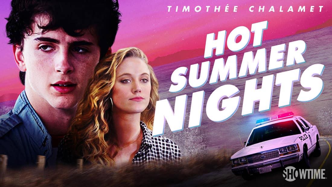 Title art for Hot Summer Nights, featuring Timothée Chalamet.