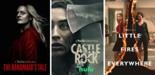 Title art for The Handmaid's Tale, Castle Rock, and Little Fires Everywhere