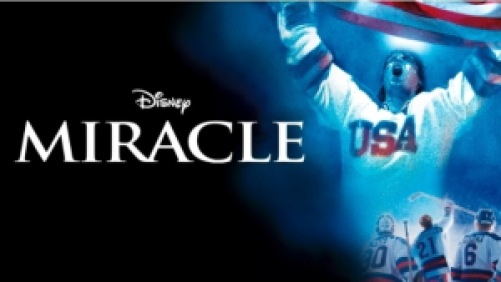 Title art for the Disney movie Miracle, featuring hockey players in USA uniforms cheering.