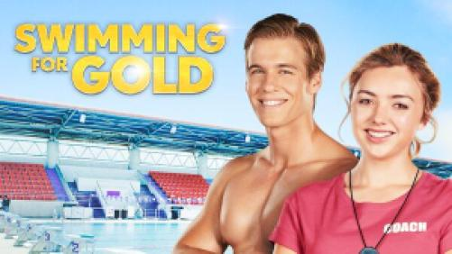 Title art for Swimming for Gold, featuring Peyton List and Daniel Needs.