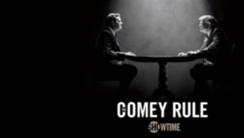 title art for the two-part series The Comey Rule, featuring Jeff Daniels and Brendan Gleeson.