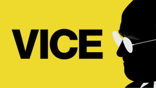 Title art for the film Vice, featuring the silhouette of former Vice President Dick Cheney.