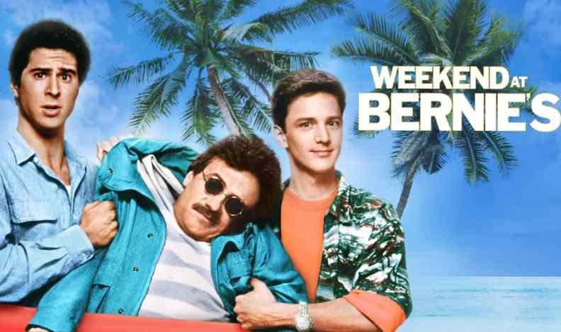Title art for Weekend at Bernie's, featuring Andrew McCarthy, Jonathan Silverman, and Terry Kiser.