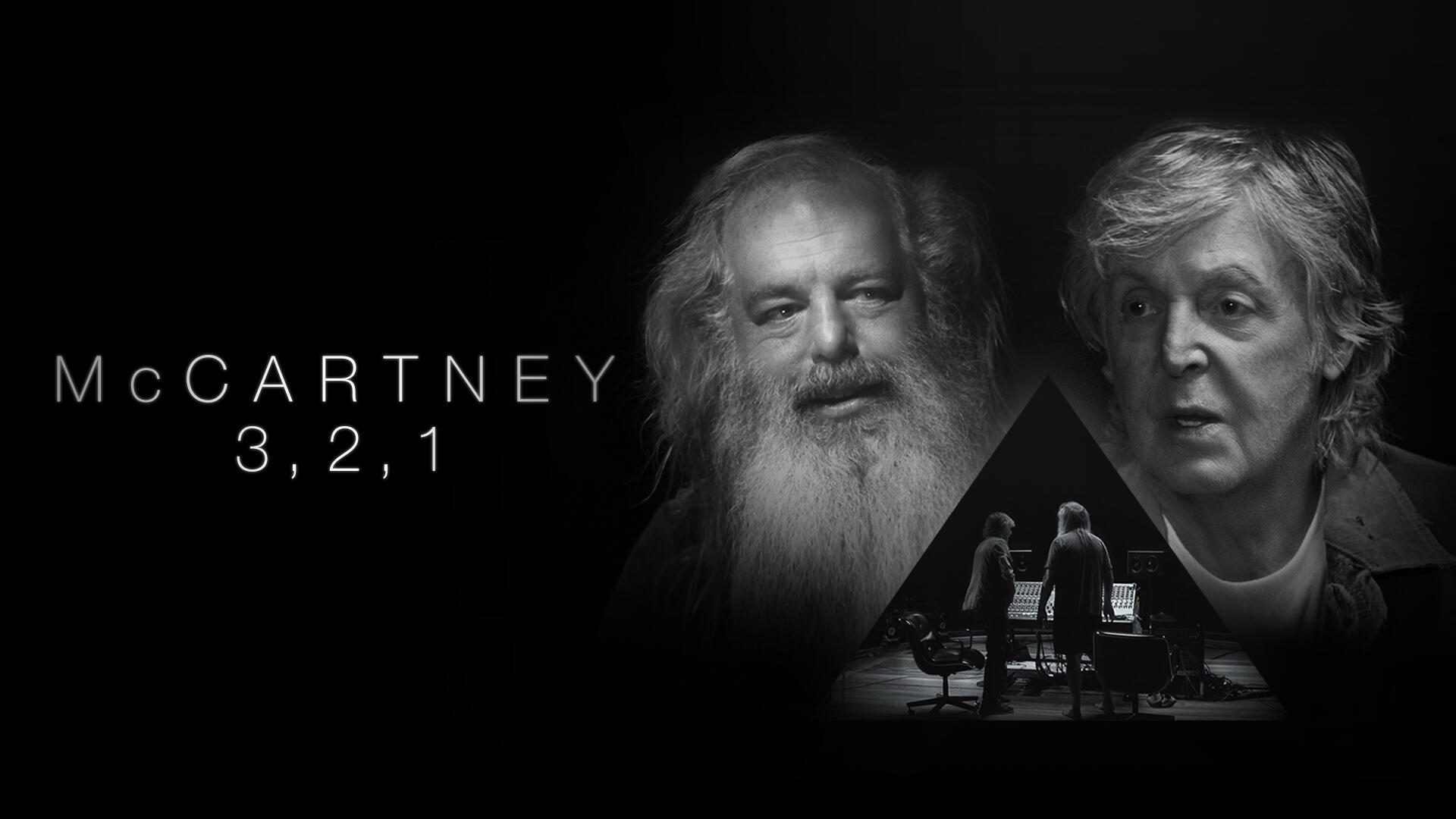 McCartney 3,2,1 -- Paul McCartney sits down for a rare, in-depth, one on one with legendary producer Rick Rubin to discuss his groundbreaking work with The Beatles, the emblematic 70s arena rock of Wings and his 50 years and counting as a solo artist. In this six-episode series that explores music and creativity in a unique and revelatory manner, join Paul and Rick for an intimate conversation about the songwriting, influences, and personal relationships that informed the iconic songs that have served as the soundtracks of our lives. Paul McCartney and Rick Rubin, shown. (Courtesy of Hulu)