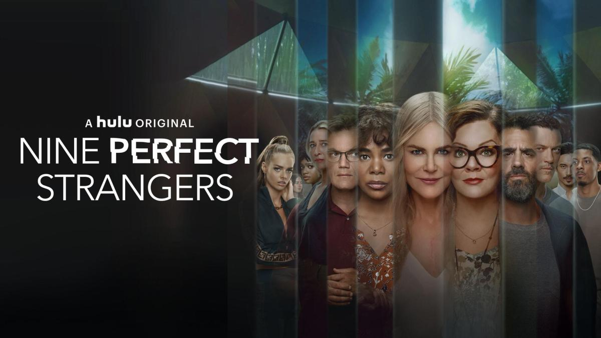 """Nine Perfect Strangers -- Based on The New York Times bestselling book by author Liane Moriarty, """"Nine Perfect Strangers"""" takes place at a boutique health-and-wellness resort that promises healing and transformation as nine stressed city dwellers try to get on a path to a better way of living. Watching over them during this 10-day retreat is the resort's director, Masha, a woman on a mission to reinvigorate their tired minds and bodies. However, these nine """"perfect"""" strangers have no idea what is about to hit them. Masha (Nicole Kidman), Frances (Melissa McCarthy), Napoleon (Michael Shannon), Lars (Luke Evans), Heather (Asher Keddie), Jessica (Samara Weaving), Ben (Melvin Gregg), Delilah (Tiffany Boone), Yao (Manny Jacinto), Zoe (Grace Van Patten), Carmel (Regina Hall) and Tony (Bobby Cannavale), shown.(Courtesy of Hulu.)"""