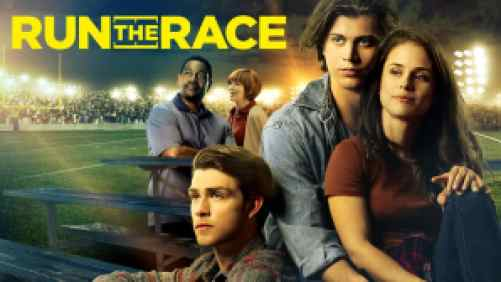 Title art for Run the Race, featuring Tanner Stine, David Hoffer, and castmates.