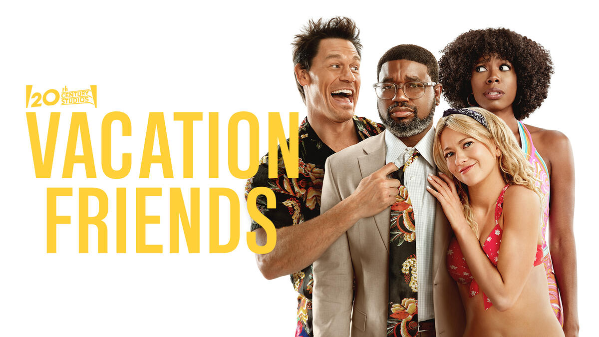 """Vacation Friends -- In this raw and raunchy comedy, strait-laced Marcus and Emily (Lil Rel Howery, Yvonne Orji) are befriended by wild, thrill-seeking partiers Ron and Kyla (John Cena, Meredith Hagner) at a resort in Mexico. Living in the moment, the usually level-headed couple lets loose to enjoy a week of uninhibited fun and debauchery with their new """"vacation friends."""" Months after their walk on the wild side, Marcus and Emily are horrified when Ron and Kyla show up uninvited at their wedding, creating chaos and proving that what happens on vacation, doesn't necessarily stay on vacation. Directed by Clay Tarver (""""Silicon Valley""""), """"Vacation Friends"""" was written by Tom Mullen & Tim Mullen and Clay Tarver and Jonathan Goldstein & John Francis Daley. The producers are Todd Garner (""""Tag,"""" """"Playing with Fire"""") and Timothy M. Bourne (""""Love, Simon,"""" """"The Hate U Give""""), with Steve Pink and Sean Robins serving as executive producers. Marcus (Lil Rel Howery), Emily (Yvonne Orji), Ron (John Cena) and Kyla (Meredith Hagner), shown. (Courtesy of 20th Century Studios)"""