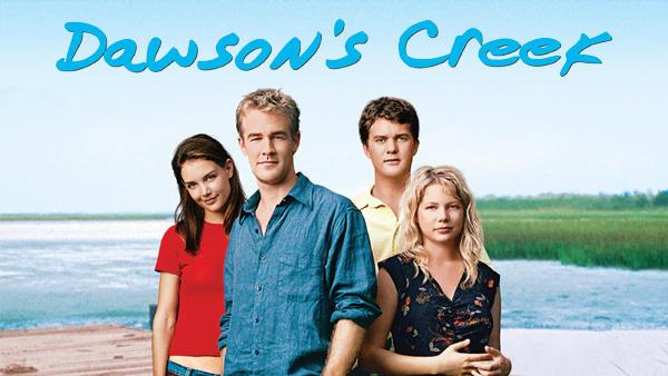 Title art for Dawson's Creek, featuring James Van Der Beek, Katie Holmes, Joshua Jackson, and Michelle Williams.