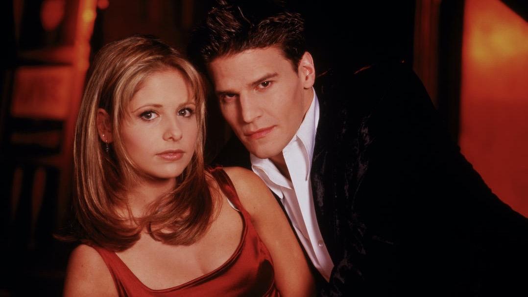Sarah Michelle Gellar and David Boreanaz in Buffy the Vampire Slayer.