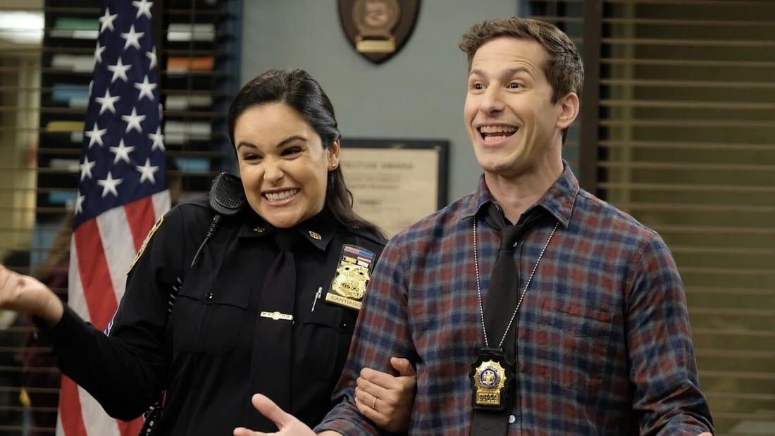 Jake (Andy Samberg) and Amy (Melissa Fumero) in the NBC sitcom Brooklyn Nine-Nine.