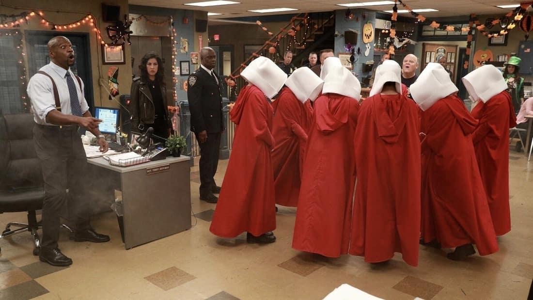 Lieutenant Terry Jeffords (Terry Crews) reacting to The Handmaids Tale in the NBC sitcom Brooklyn Nine-Nine.
