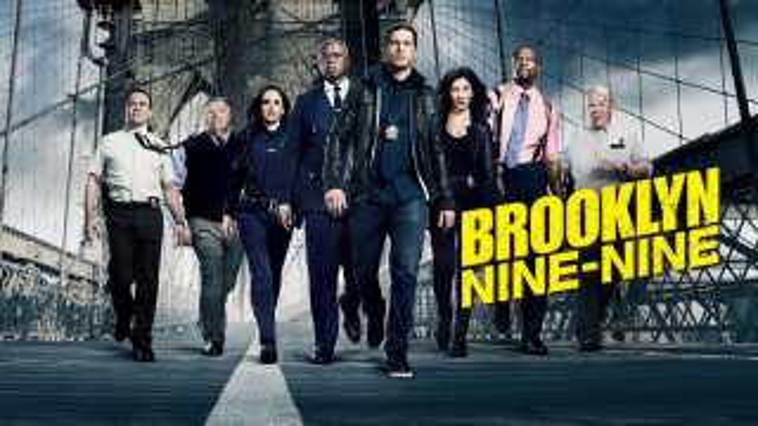 Title art for the NBC sitcom Brooklyn Nine-Nine, featuring the cast walking along the Brooklyn Bridge.
