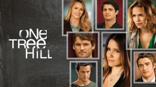 Title art for One Tree Hill, featuring Sophia Bush, Bethany Joy Lenz, and cast.