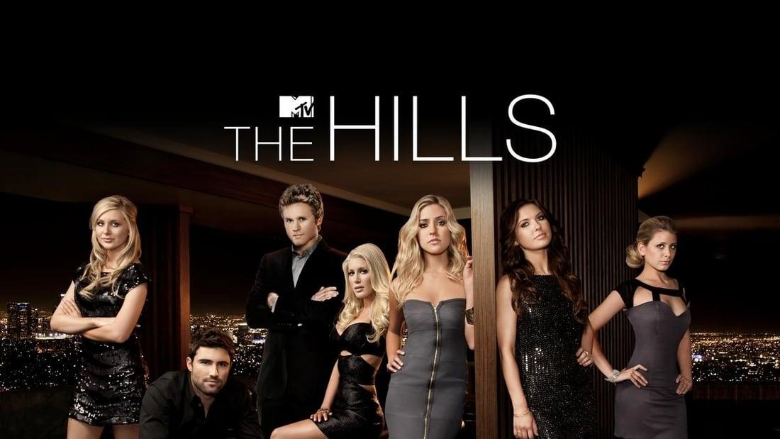 title art for the MTV series The Hills, featuring Lauren Conrad, Audriana Patridge, Brody Jenner, Spencer and Stephanie Pratt, Heidi Montag, and Kristin Cavallari.