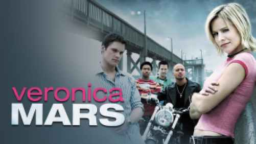 Title art for Veronica Mars, featuring Kristen Bell and cast.