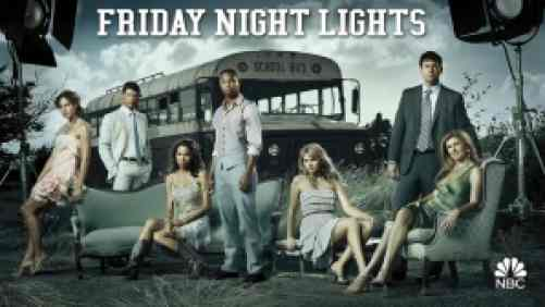 title art for Friday Night Lights, featuring Kyle Chandler, Connie Britton, and the rest of the cast.
