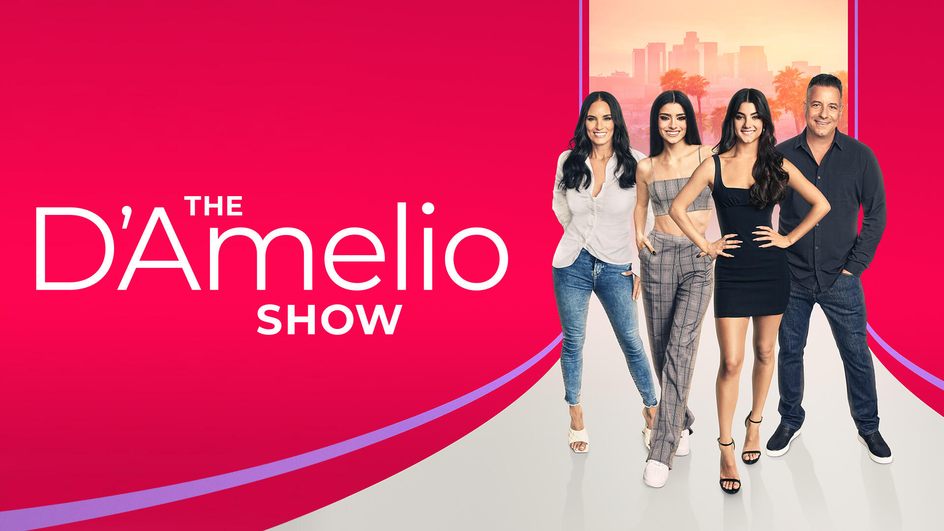 The D'Amelio Show -- From relative obscurity and a seemingly normal life, to being thrust into the Hollywood limelight almost overnight, the D'Amelio's are faced with new challenges and opportunities they could not have imagined. Charli, who at 16 became one of the biggest celebrities with over 150 million followers combined and #1 on the TikTok platform in less than a year, has the world at her fingertips and is working to balance fame and family life with dancing, relationships, making new friends in LA and battling the haters online. Her sister, Dixie, now 19, is experiencing her own sudden rise to fame with over 80 million followers combined, and an exploding music career. For mom Heidi and dad Marc, raising teenagers is hard enough before adding a cross-country move, supporting their daughters' dreams, and doing the best they can to stay close and protect their girls from the dark side of fame, while also trying to adjust to life in Hollywood. Charli D'Amelio, Dixie D'Amelio, Heidi D'Amelio and Marc D'Amelio, shown. (Courtesy of Hulu)