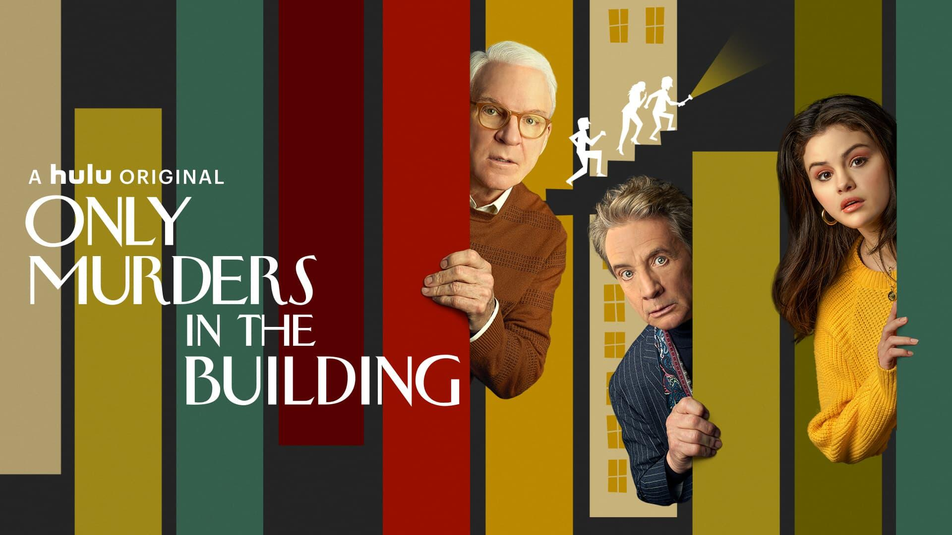"""Only Murders In The Building -- From the minds of Steve Martin, Dan Fogelman and John Hoffman comes a comedic murder-mystery series for the ages. """"Only Murders In The Building"""" follows three strangers (Steve Martin, Martin Short and Selena Gomez) who share an obsession with true crime and suddenly find themselves wrapped up in one. When a grisly death occurs inside their exclusive Upper West Side apartment building, the trio suspects murder and employs their precise knowledge of true crime to investigate the truth. As they record a podcast of their own to document the case, the three unravel the complex secrets of the building which stretch back years. Perhaps even more explosive are the lies they tell one another. Soon, the endangered trio comes to realize a killer might be living amongst them as they race to decipher the mounting clues before it's too late. Charles (Steve Martin), Oliver (Martin Short) and Mabel (Selena Gomez), shown. (Courtesy of Hulu)"""