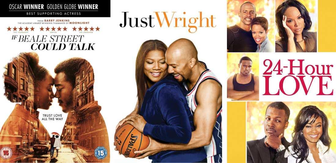 Title art for Black romance movies on Hulu