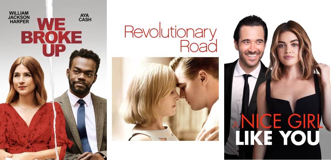 Title art for breakup movies on Hulu,