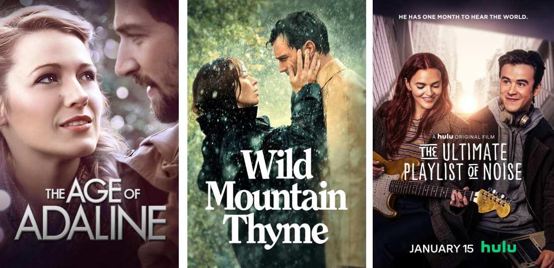 Title art for sad romance movies on Hulu