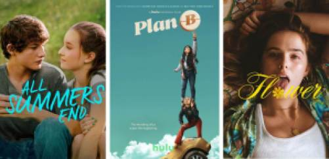 Title art for teen romance movies on Hulu