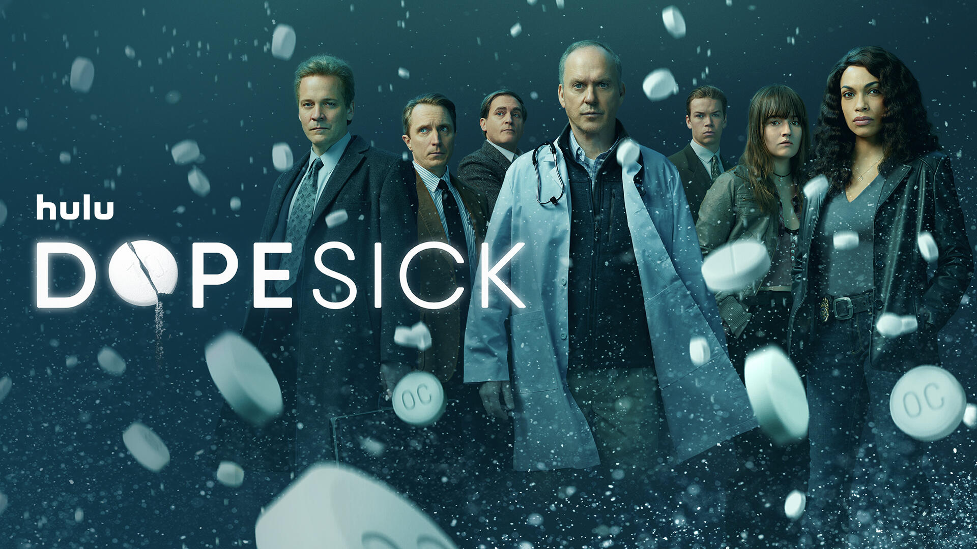 """Dopesick -- From Executive Producer Danny Strong and starring and executive produced by Michael Keaton, """"Dopesick"""" examines how one company triggered the worst drug epidemic in American history. The series takes viewers to the epicenter of America's struggle with opioid addiction, from the boardrooms of Big Pharma, to a distressed Virginia mining community, to the hallways of the DEA. Defying all the odds, heroes will emerge in an intense and thrilling ride to take down the craven corporate forces behind this national crisis and their allies. The limited series is inspired by the New York Times bestselling book by Beth Macy. Dr. Samuel Finnix (Michael Keaton), Rick Mountcastle (Peter Sarsgaard), Richard Sackler (Michael Stuhlberg), Billy (Will Poulter), Randy Ramseyer (John Hoogenakker), Betsy (Kaitlyn Dever) and Bridget Meyer (Rosario Dawson), shown. (Courtesy of Hulu)"""