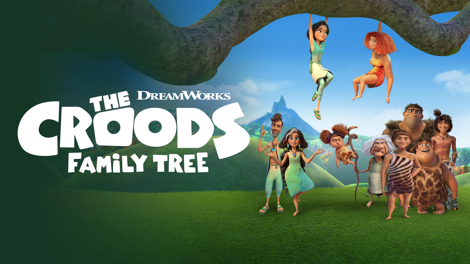 The Croods: Family Tree -- Following the events in the feature film THE CROODS: A NEW AGE, two very different families join forces to create a new community, an us-against-the-world, cave person co-op on the most amazing farm in the history of prehistory! (Courtesy of DreamWorks)