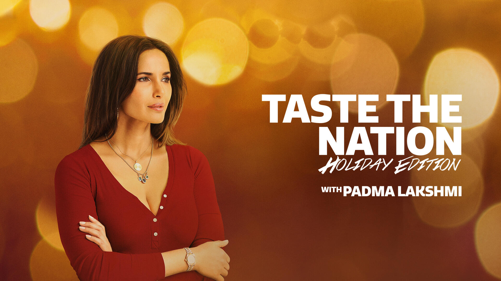 """Taste The Nation -- In """"Taste the Nation,"""" award-winning host, executive producer and cookbook author Padma Lakshmi, who recently received her 3rd Emmy nomination, takes audiences on a journey across America, exploring the rich and diverse food culture of various immigrant groups, seeking out the people who have so heavily shaped what American food is today. From indigenous communities to recent immigrant arrivals, Padma breaks bread with Americans across the nation to uncover the roots and relationship between our food, our humanity and our history - ultimately revealing stories that challenge notions of identity, belonging, and what it means to be American. """"Taste the Nation"""" returns this Fall for a special 4-part """"Holiday Edition"""" where each episode will highlight unique traditions through the lens of a different immigrant culture and city, like Korean New Year in Los Angeles and Cuban Christmas in Miami. Padma Lakshmi, shown. (Courtesy of Hulu)"""